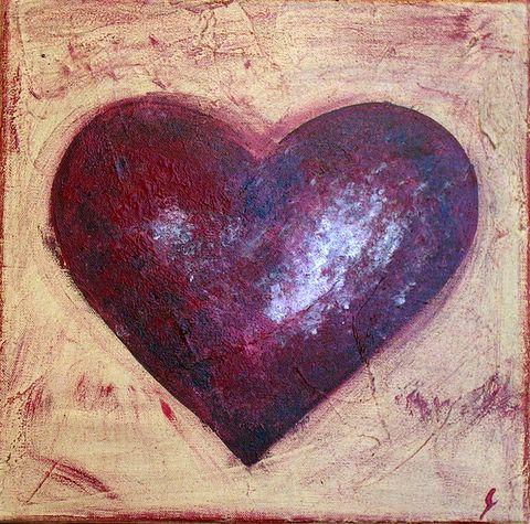 Tableau Contemporain, Coeur rouge #3. Sophie Costa, artiste peintre.