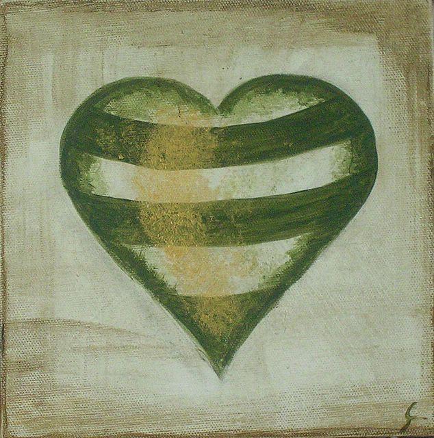 Tableau Contemporain, Coeur à rayures #2. Sophie Costa, artiste peintre.