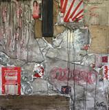 Tableau abstrait, collage, Sans Titre