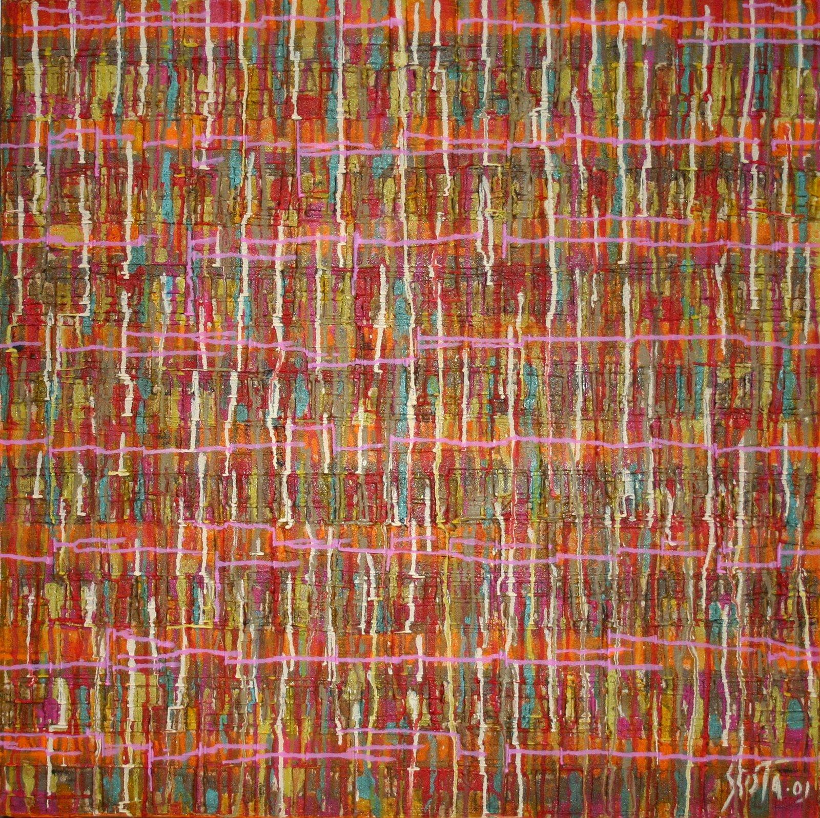 Tableau Contemporain, Streaming colours 2. Sophie Costa, artiste peintre.