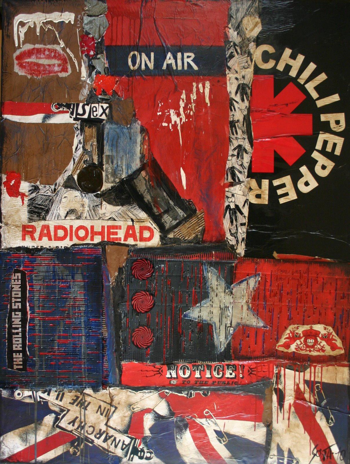 Tableau contemporain abstrait, Rock, collage foncé rouge noir bleu Tableau Contemporain, ON AIR. Sophie Costa, artiste peintre.