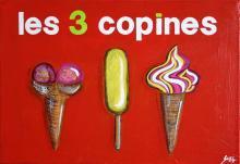 Tableau Les 3 copines (glaces) : Artiste peintre Sophie Costa