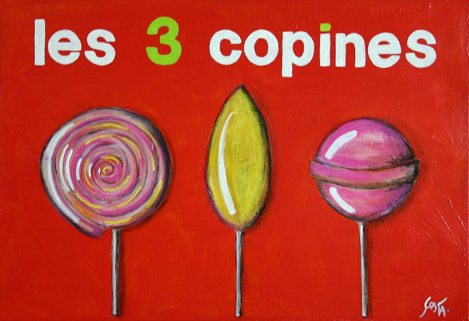 Tableau Contemporain, Les 3 copines (sucettes). Sophie Costa, artiste peintre.