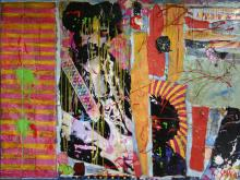Tableau abstrait collage grand format, Jimy Hendrix