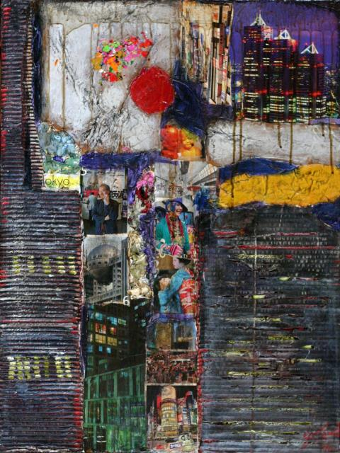 Tableau Contemporain, TOKYO by night. Sophie Costa, artiste peintre.