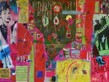Tableau abstrait collage grand format, rouge, jaune, 60