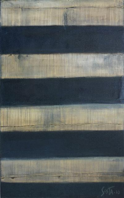 Tableau abstrait, rayures sablées beiges et noires. Duomo, Sienna. Tableau Contemporain, SIENA 02. Sophie Costa, artiste peintre.