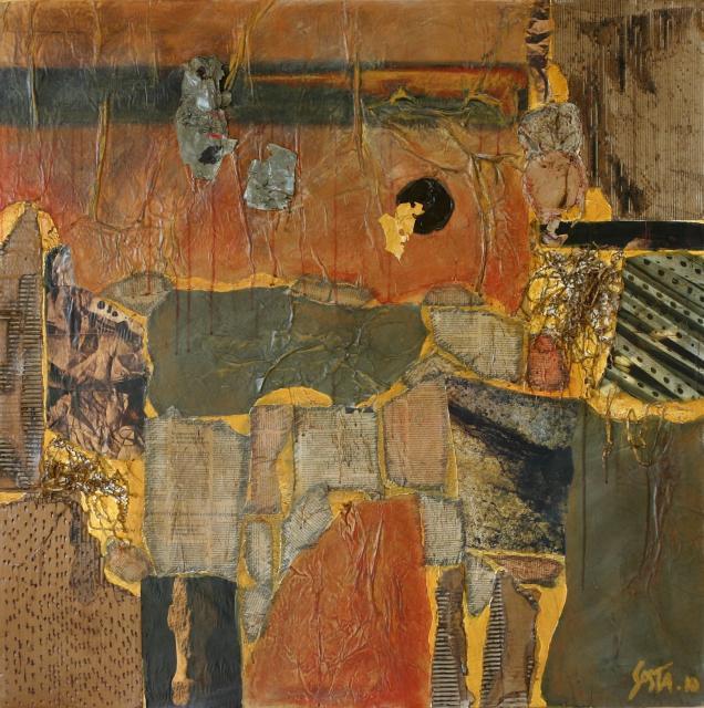 """Tableau abstrait collage """"TOSCANE"""", vert végétal, couleur """"sienne"""" de la terre, couleur """"brique"""" des monuments Tableau Contemporain, TOSCANE. Sophie Costa, artiste peintre."""
