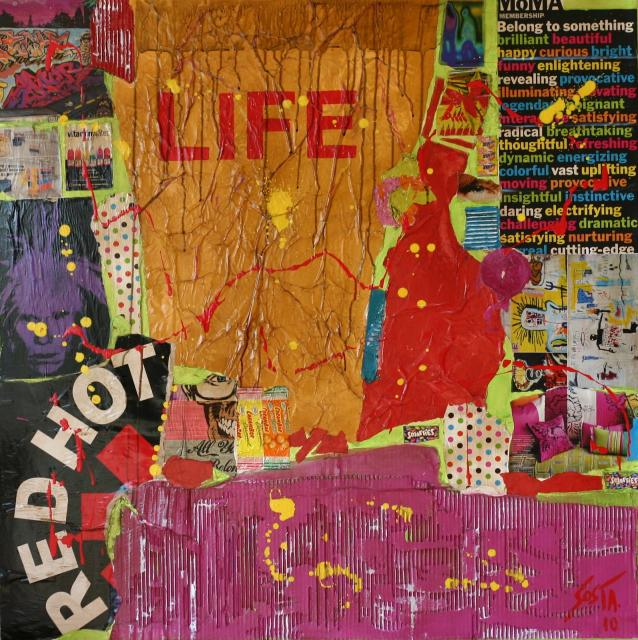 Tableau collage grand format. Life, Red Hot, Warhol, Moma. Tableau Contemporain, LIFE. Sophie Costa, artiste peintre.