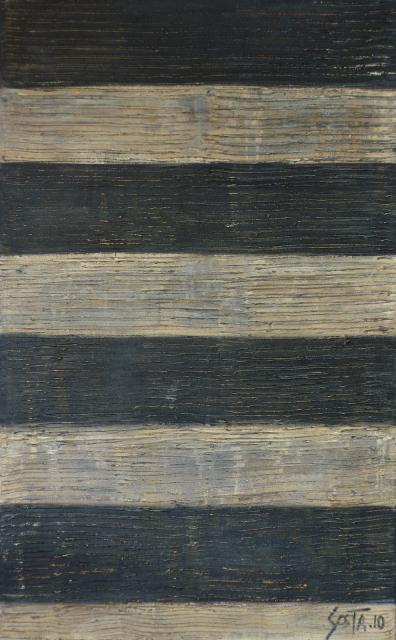 Tableau abstrait, rayures texturées beiges et noires. Duomo, Sienna. Tableau Contemporain, SIENA 01. Sophie Costa, artiste peintre.