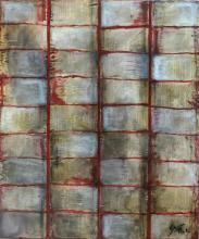 Tableau abstrait collage beige et rouge, feuilles de livre, Inception 2