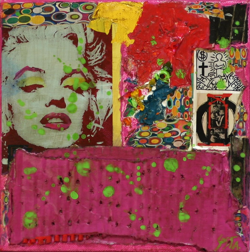 Rose/carton Tableau Contemporain, Pop. Sophie Costa, artiste peintre.