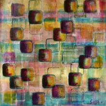 Tableau abstrait imprimé avec forme, glacis, fondu de couleurs, GEM