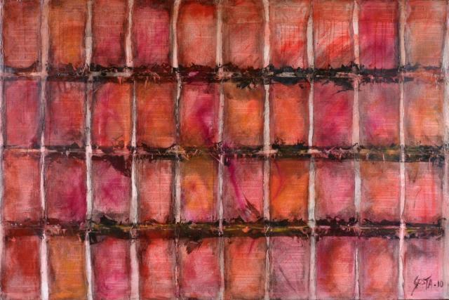 rouge/noir/rose/orange/pages de livre Tableau Contemporain, Inception 3. Sophie Costa, artiste peintre.