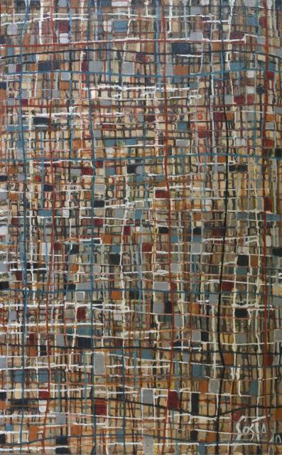 quadrillage/carrés/couleurs d'automne Tableau Contemporain, Carrés d'Automne. Sophie Costa, artiste peintre.