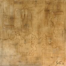Tableau abstrait beige doux, Sur le fil