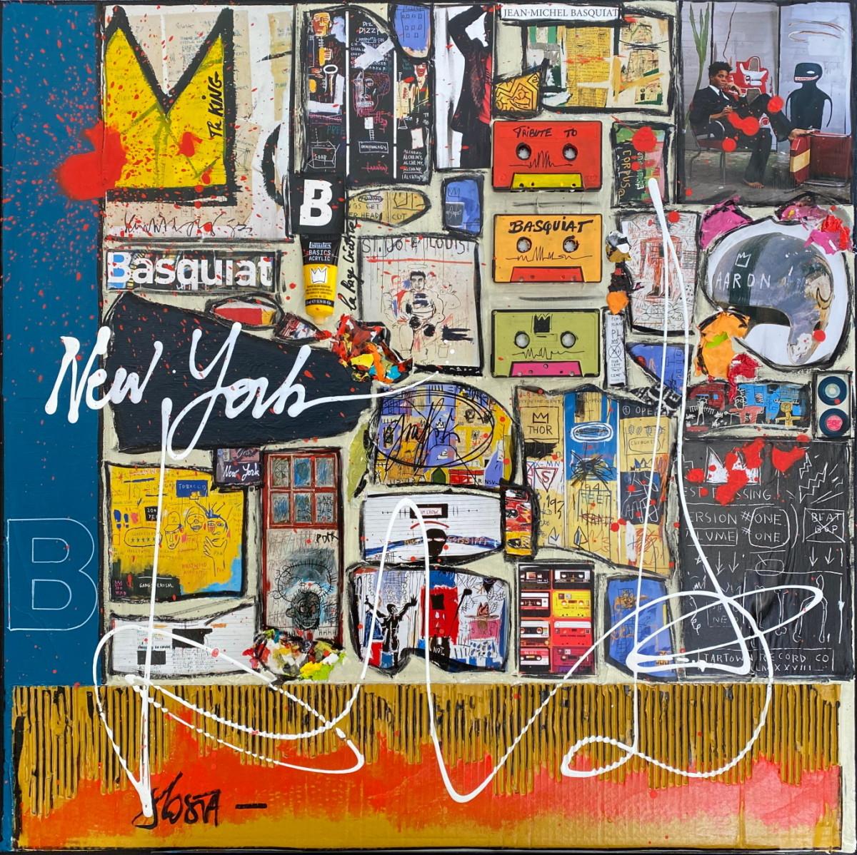 collage, basquiat Tableau Contemporain, Basquiat unlocked. Sophie Costa, artiste peintre.