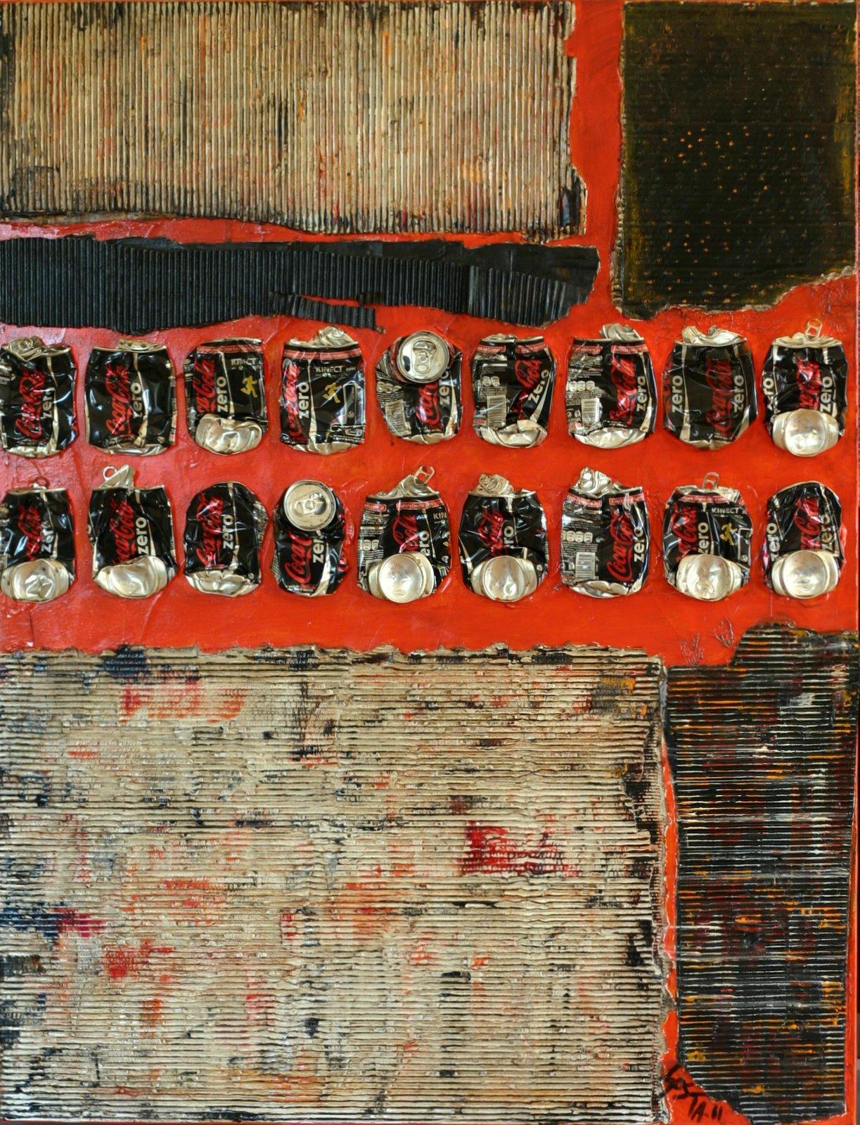 Coca zero/carton déchiré/noir et orange Tableau Contemporain, Waste Art 3. Sophie Costa, artiste peintre.