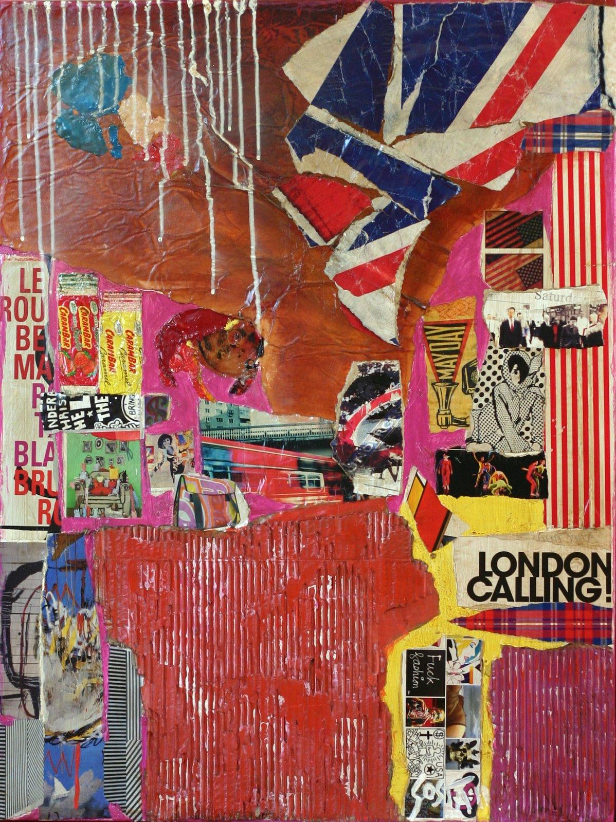 collage/multicolore/london Tableau Contemporain, London calling. Sophie Costa, artiste peintre.