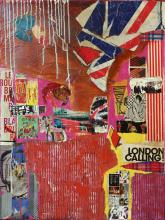 Tableau abstrait collage, London Calling