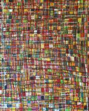 Tableau abstrait multicolore quadrillé, Fresh 2