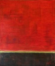Tableau abstrait sobre et puissant, rouge et noir