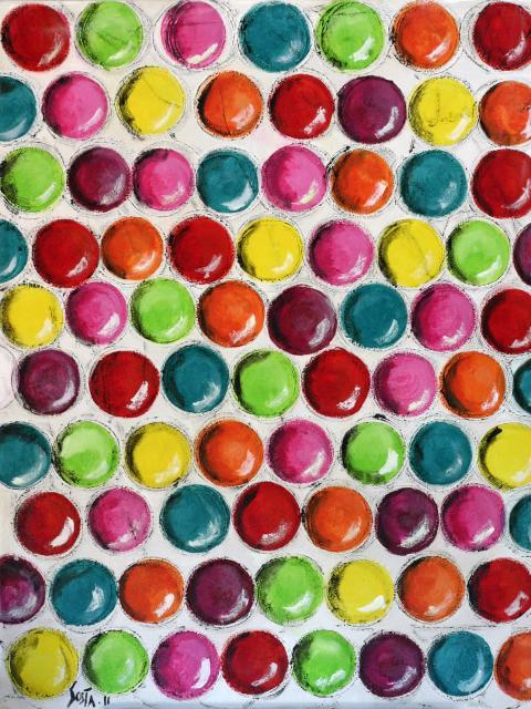 Multicolore/balls Tableau Contemporain, PEPS. Sophie Costa, artiste peintre.