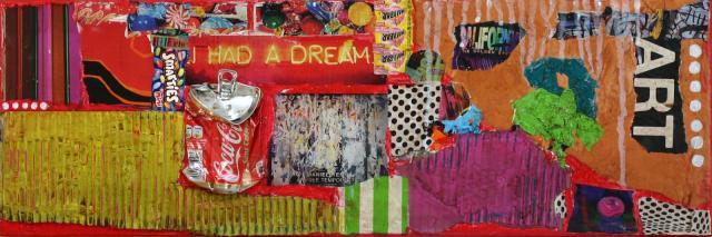 """collage/multicolore Tableau Contemporain, """"I had a dream"""". Sophie Costa, artiste peintre."""