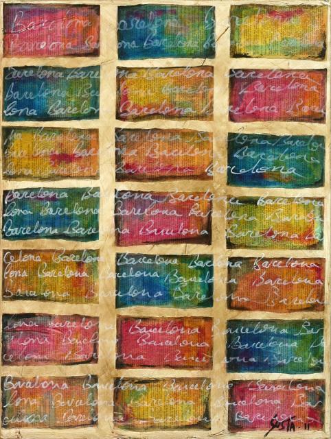 multicolore, page de livre, écriture, barcelone Tableau Contemporain, Barcelona. Sophie Costa, artiste peintre.