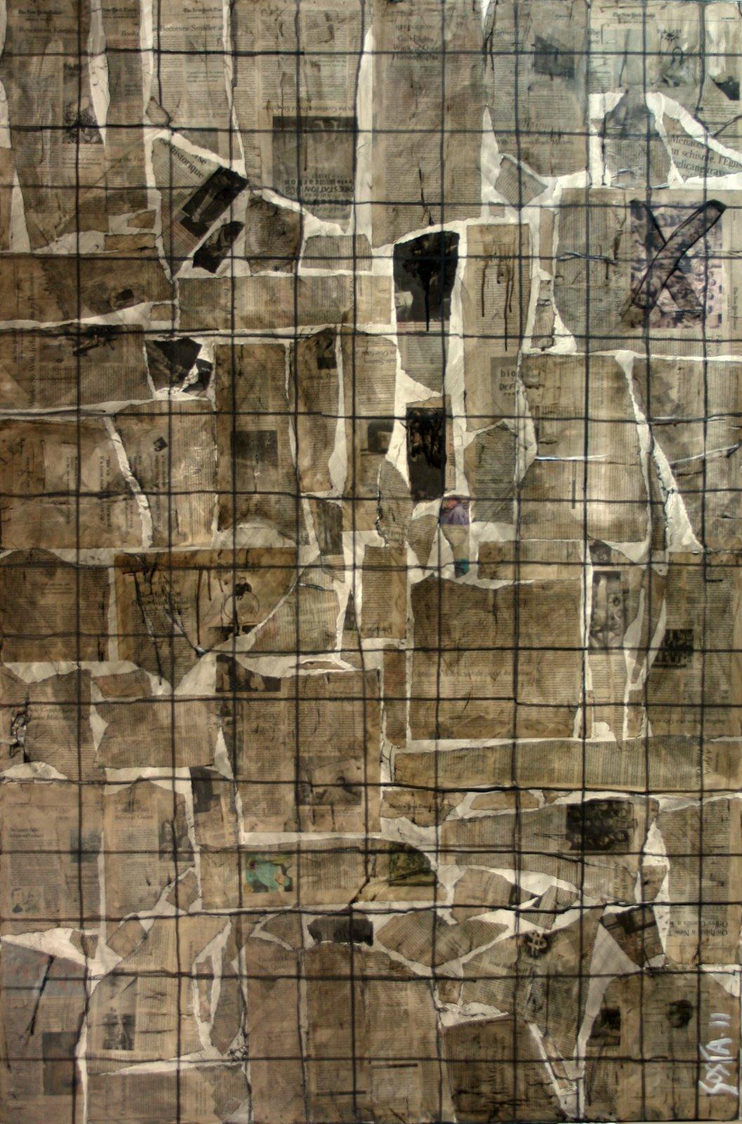 journaux, collage Tableau Contemporain, Breaking News. Sophie Costa, artiste peintre.