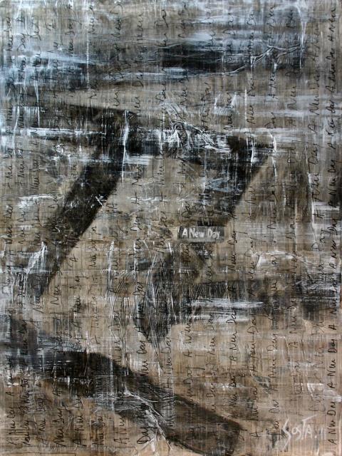collage journaux, gris,noir, grand format Tableau Contemporain, A new day. Sophie Costa, artiste peintre.