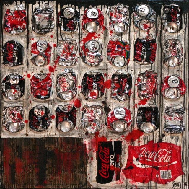 canettes de coca compressees, noir, rouge, gris Tableau Contemporain, JUST COKE. Sophie Costa, artiste peintre.