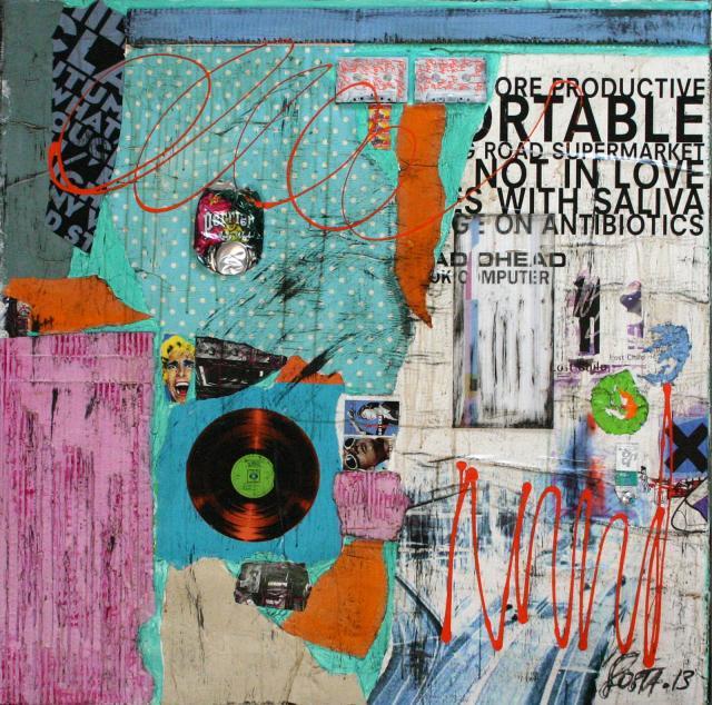 collage, multicolore Tableau Contemporain, OK COMPUTER. Sophie Costa, artiste peintre.