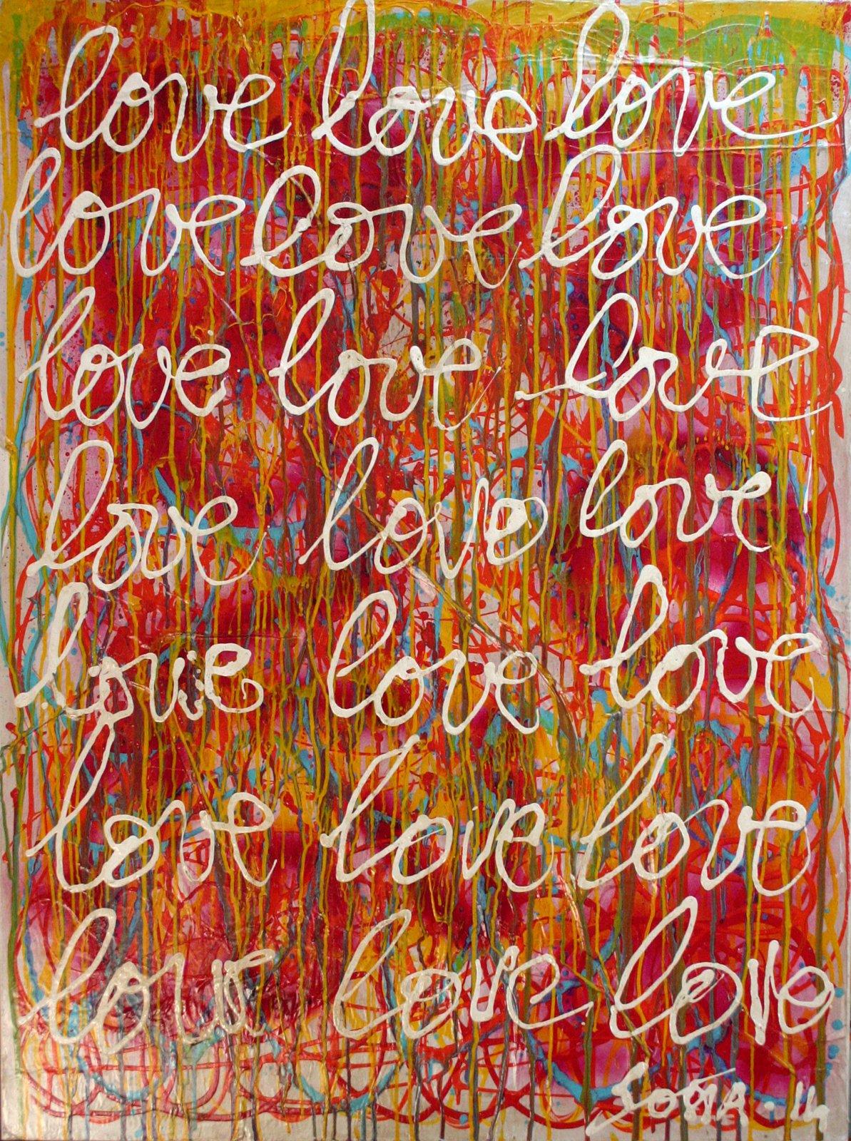 multicolore, écriture, graphique Tableau Contemporain, Love, Love. Sophie Costa, artiste peintre.