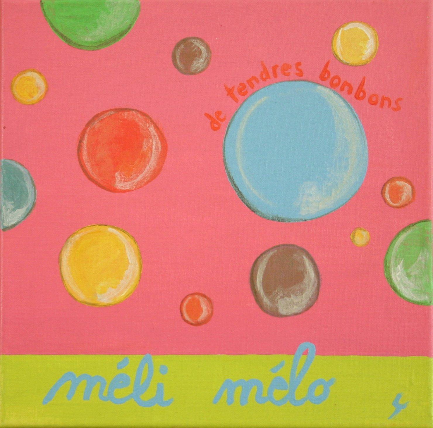 Tableau Contemporain, Méli mélo Rose. Sophie Costa, artiste peintre.