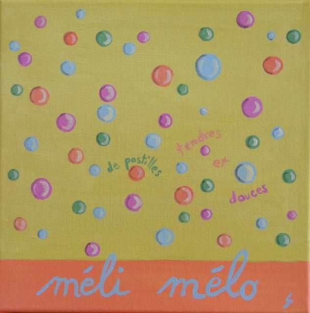 Tableau Contemporain, Méli mélo de pastilles douces. Sophie Costa, artiste peintre.