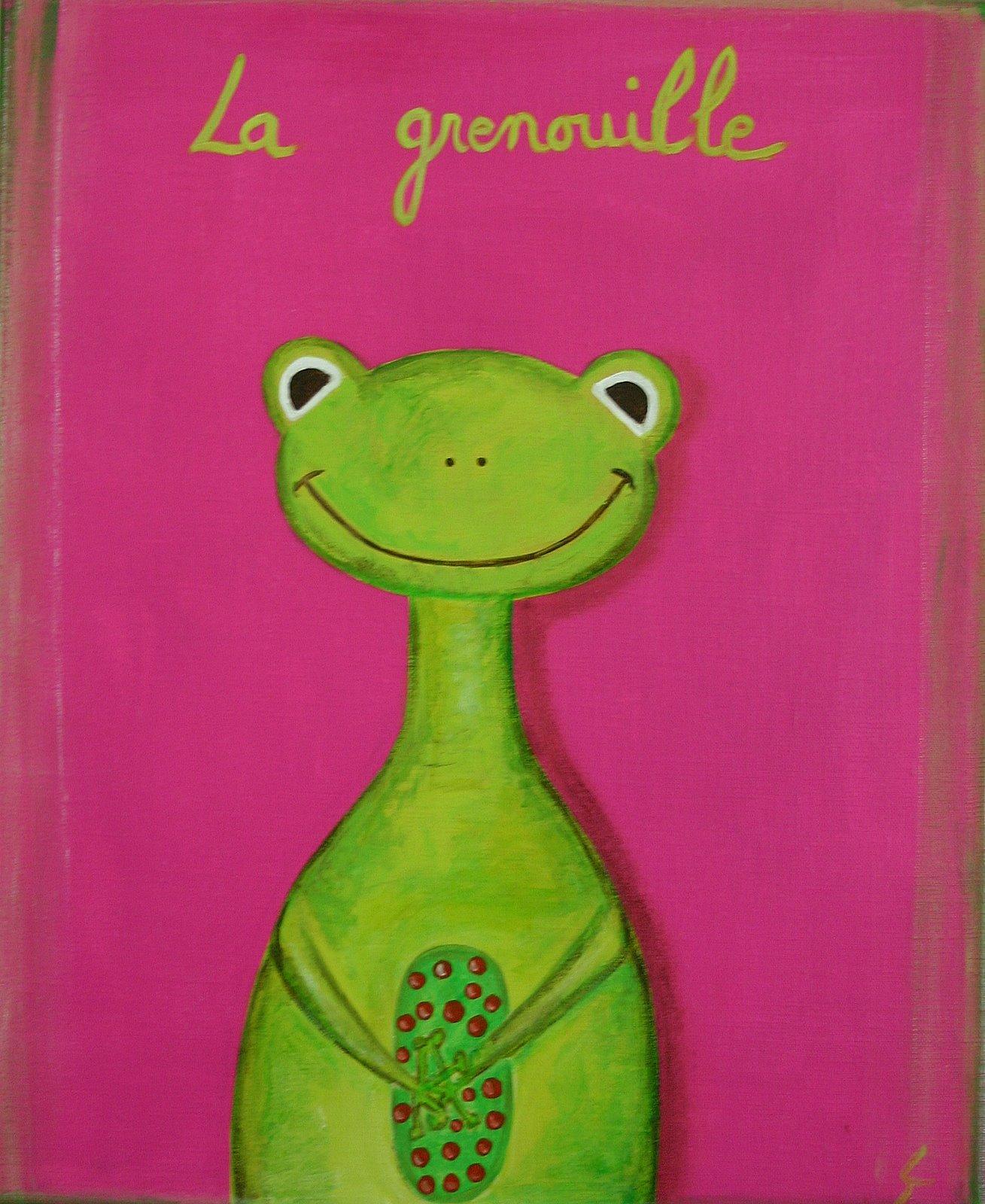 Tableau Contemporain, La grenouille verte. Sophie Costa, artiste peintre.