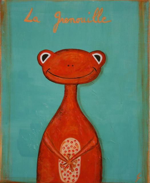 Tableau Contemporain, La grenouille orange. Sophie Costa, artiste peintre.