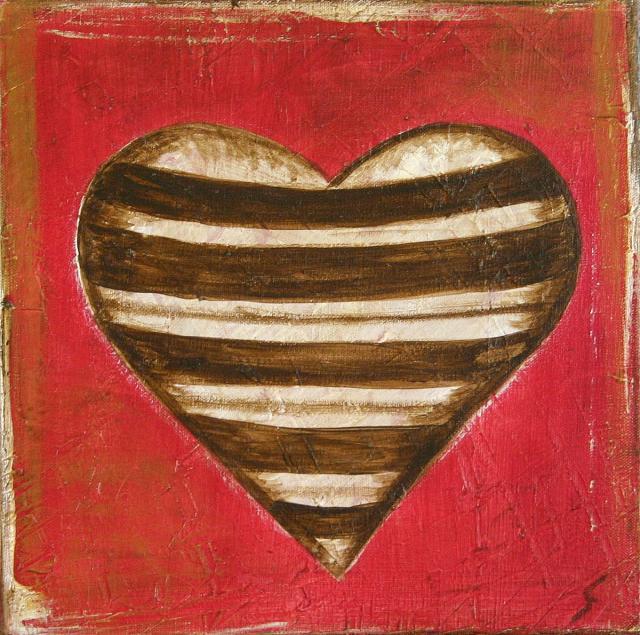 Tableau Contemporain, Coeur à rayures. Sophie Costa, artiste peintre.