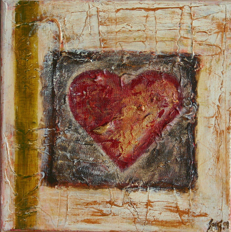 Tableau Contemporain, Coeur. Sophie Costa, artiste peintre.