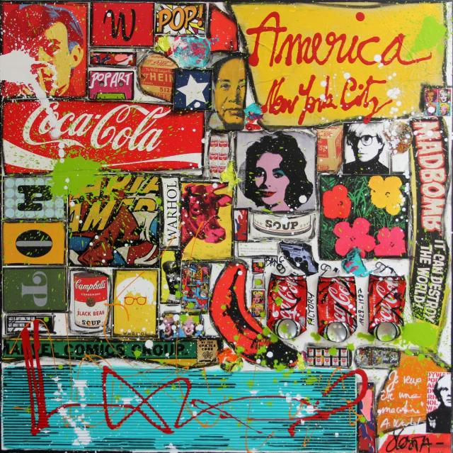 collage, pop art, warhol Tableau Contemporain, Warhol America. Sophie Costa, artiste peintre.