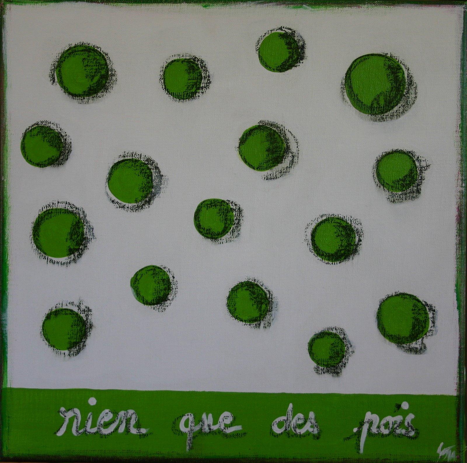 Tableau Contemporain, Rien que des pois. Sophie Costa, artiste peintre.