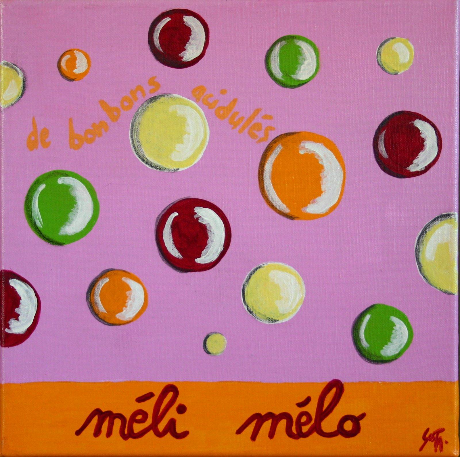 Tableau Contemporain, Méli mélo acidulé. Sophie Costa, artiste peintre.