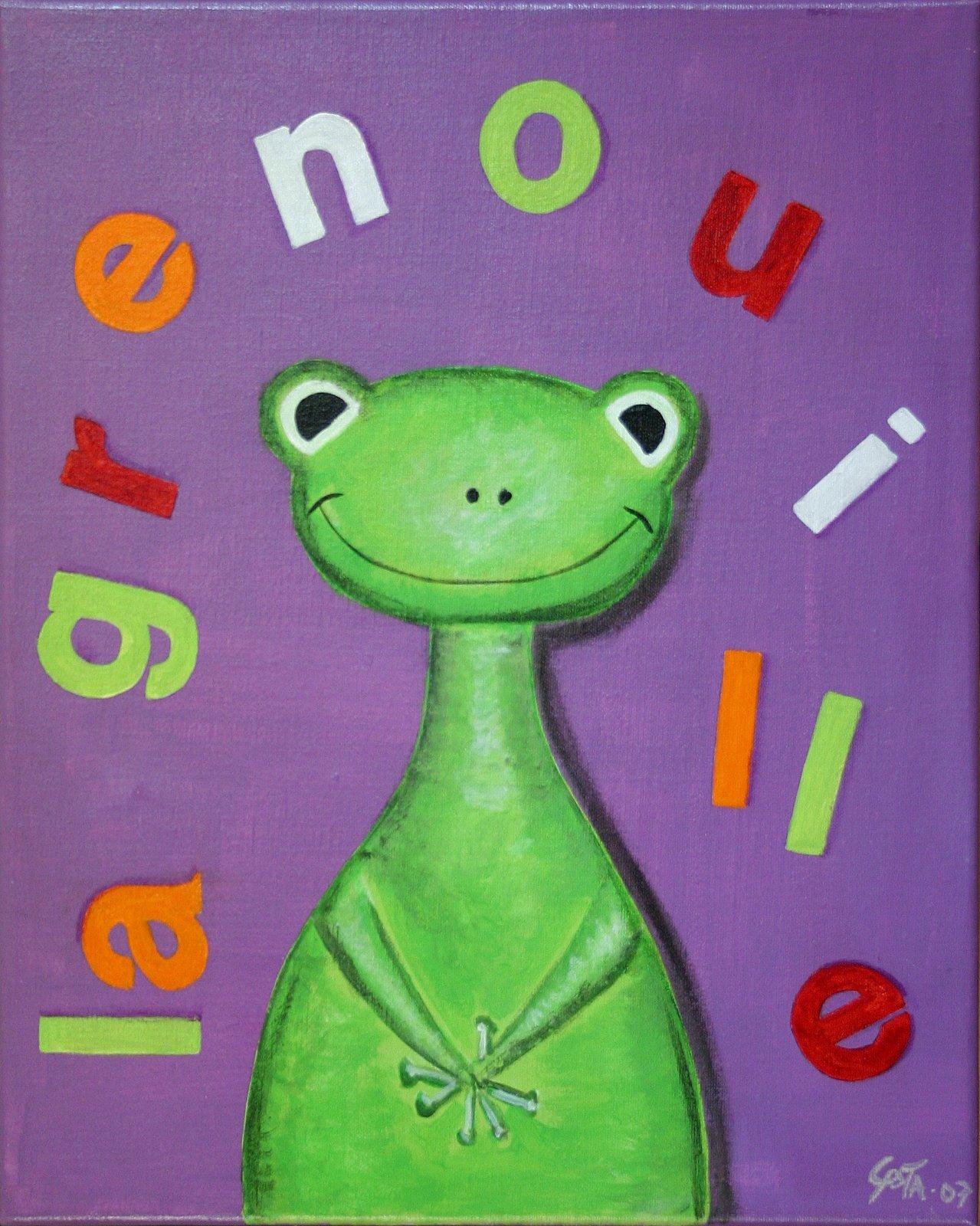 Tableau Contemporain, La grenouille. Sophie Costa, artiste peintre.