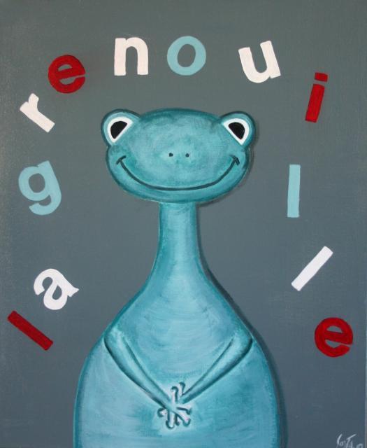Tableau Contemporain, La grenouille bleue. Sophie Costa, artiste peintre.