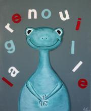 Tableau La grenouille bleue : Artiste peintre Sophie Costa