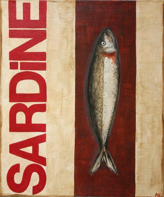 Tableau Contemporain, SARDINE rouge. Sophie Costa, artiste peintre.
