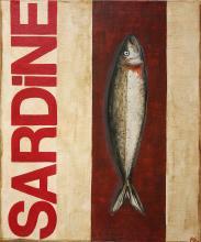 Tableau SARDINE rouge : Artiste peintre Sophie Costa