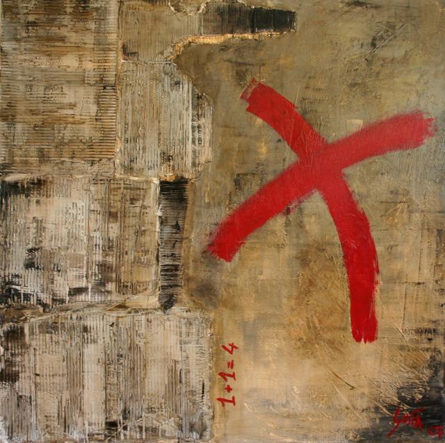 Tableau Contemporain, 1+1=4. Sophie Costa, artiste peintre.