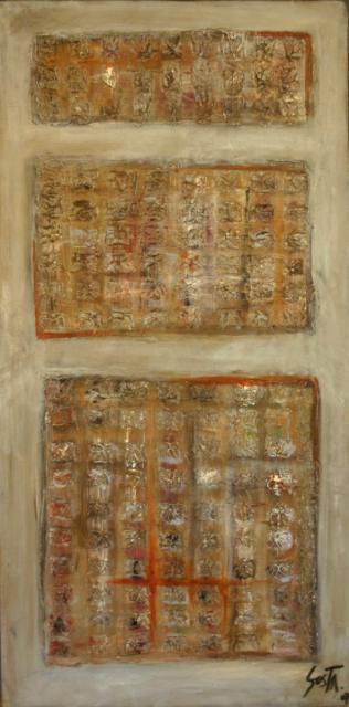 Tableau Contemporain, Ciment Gris. Sophie Costa, artiste peintre.